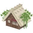 わらぶき屋根の家